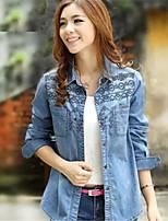 Women's Casual Denim Shirt Long Sleeve Regular Regular Top (Cotton/Oxford cloth)