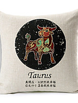 Modern Style Constellation Taurus Patterned Cotton/Linen Decorative Pillow Cover