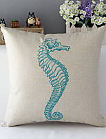 Country Style Sea Hores Patterned Cotton/Linen Decorative Pillow Cover
