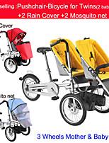 todo el conjunto de paseo-bicicletas para los gemelos 2 protector de lluvia + 2mosquite ruituo neta ™ cochecito convertible 3 en 1 bici