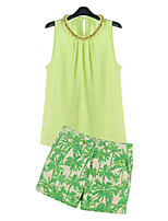 Women's Sexy Casual Print Cute Plus Sizes Inelastic Sleeveless Regular   Suit(Blouse &Pants) (Chiffon)