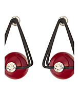 Women's Classic Triangle Red Bead Pendant Stud Earrings HJ0101