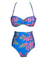 Women's Sexy Fresh Floral Push-up High Rise Halter Bikinis