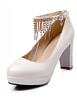 Women's Shoes Synthetic Chunky Heel Heels/Basic Pump Pumps/Heels Office & Career/Dress/Casual Blue/Pink/Red/White/Beige
