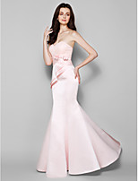 Floor-length Lace/Satin Bridesmaid Dress - Pearl Pink Trumpet/Mermaid Sweetheart
