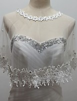 Wedding  Wraps Capelets Sleeveless Tulle/Sequined White