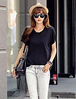 Women's Casual Stitching Micro-elastic Short Sleeve Regular T-shirt (Cotton)