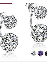 925 Sterling Silver Double Curved Four Claw Stud Earrings