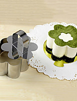 3''Mousse Tool Set of Flower Shape Mousse Ring with Push Handle Cheese Cake Mold Stainless Steel