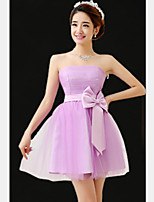 Short/Mini Tulle Bridesmaid Dress - Purple A-line Strapless