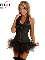 NEW BlackSexy Lace Up Boned Overbust Corset Bustier Top G-String S-2XL