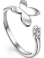 Women's Heart And Soul Butterfly Silver Ring With Rhinestone