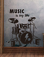 Wall Stickers Wall Decals, Modern Drums PVC Wall Stickers