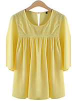 Women's Yellow Blouse , Round Neck ½ Length Sleeve Hollow Out