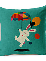 Modern Style Cartoon Rabbit Patterned Cotton/Linen Decorative Pillow Cover