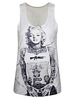PinkQueen® Women's Polyester/Spandex Marilyn Monroe Printed Sleeveless Tank Top