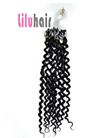 20inch 0.5g/s 100s Curly Loop Micro Ring Beads Remy Human Hair Extensions Color #01 Jet Black 50g