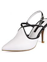 Chaussures Femme Cuir Talon Aiguille Bout Pointu Escarpins / Talons Habillé Noir/Bleu/Rose/Blanc