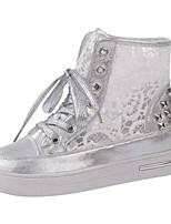 Zapatos de mujer Tul/Semicuero Plataforma Creepers/Comfort Sneakers a la Moda Casual/Deporte Blanco/Plata