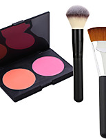 Pro Party 2 Colors Face Blush Blusher Powder Palette + 2Powder Brush