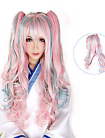 100 Cm Harajuku Lolita Full Wigs Long Hair Synthetic Wigs 2 Clips Femme Anime Rainbow Ombre Cosplay Wigs 0.6kg