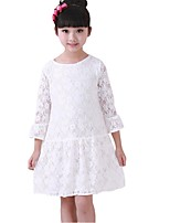 Kids Girls Spring Fall Lace 3/4 Sleeve Princess Party Dresses (Cotton/Lace)