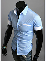 Men's Fashion Hit Color Slim Short Sleeved Shirt
