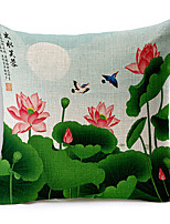 Country Lotus Patterned Cotton/Linen Decorative Pillow Cover