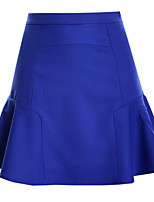 Women's Solid Blue/Pink/White/Black/Green Skirts , Casual Above Knee