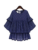 Women's Polka Dot Blue Blouse , Casual/Plus Sizes Round Neck ½ Length Sleeve Layered/Ruffle