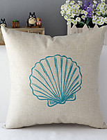 Country Style Sea Shell Patterned Cotton/Linen Decorative Pillow Cover