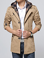 Men's Fashion Single Breasted Removable Hooded Slim Trench Coat