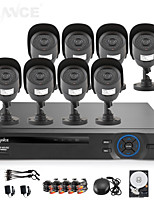 SANNCE® 8CH AHD-L DVR w/ eCloud HDMI 1080P/VGA/BNC Output  8pcs 800TVL CMOS 42LEDS Day/Night IR-cut Cameras IP66(1TB HDD)