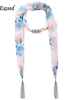 D Exceed  Ladies Brand Design Fashionable Rose Flower Print Light Blue Chiffon Scarves with Tassel Jewelry Scarf