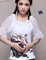 Women's Print White T-shirt , Round Neck ½ Length Sleeve
