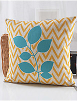 Country Style Leaves Pattern Cotton/Linen Decorative Pillow Cover