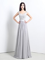 Formal Evening Dress - Silver Petite A-line Straps Sweep/Brush Train Chiffon / Lace