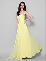 Brautjungfernkleid - Narzisse Georgette - Etui-Linie - bodenlang - Herz-Ausschnitt