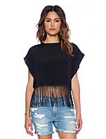 Women's Solid/Patchwork Black Blouse , Round Neck Short Sleeve Tassel