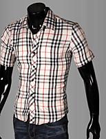 Camisa De los hombres Casual/Trabajo/Formal/Deporte Cuadros Escoceses/Un Color - Mezcla de Algodón - Manga Corta