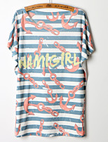 Women's Print/Striped Multi-color T-shirt , Round Neck Short Sleeve
