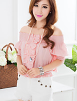 Women's Casual/Cute Inelastic Short Sleeve Regular Blouse (Spandex)