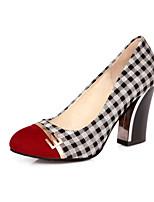 Women's Shoes Fabric Chunky Heel Round Toe Pumps/Heels Office & Career/Dress Black/Orange/Burgundy