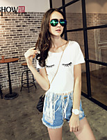 MiShow®Women's Pure Color Choli Han Edition Tassel Cartoon Printing Long T-shirt in The Female