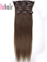 20inch (50cm) 8pcs 100 gram Clip in on Real Remy Human Hair Extensions Color #04 Medium Brown