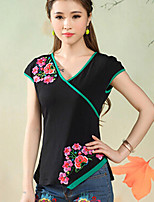 Women's Floral Pink/White/Black/Green T-shirt , V Neck ½ Length Sleeve Embroidery
