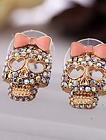 Korean Fashion Earrings Personalized Jewelry Skull Full Of Diamond Bow Earrings