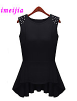 Women's Casual/Cute Micro-elastic Sleeveless Regular T-shirt (Cotton)