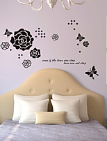 papillon Stickers muraux stickers muraux de style rose mur de PVC autocollants