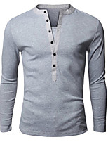 Men's Long Sleeve T-Shirt , Polyester Casual Pure / Color Block